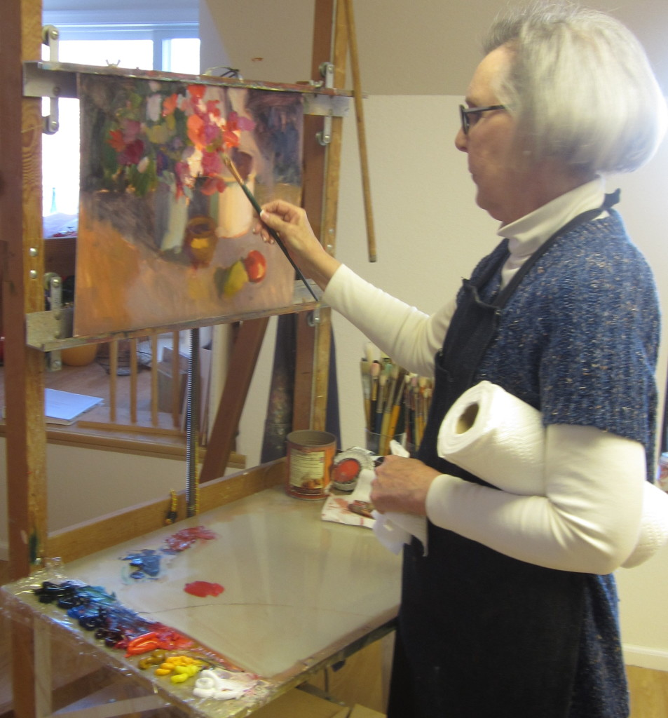 Susan Greaves demonstrating oil painting